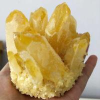 Large Yellow Crystal Cluster Quartz Mineral Healing Reiki Stone Decoration 500g