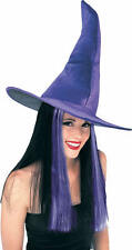 Halloween Purple Velour Crooked Witch Hat With Hair - Adult/Teen(One Size)49227