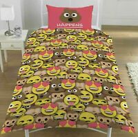 Emoji Sh*t Happens Single Duvet Cover Reversible Bedding Set Emoji