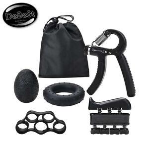 Ejercitador de Agarre de Mano Ajustable Set 5pc Hand Grip Trainer Gripper Gym Po