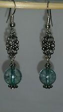 Natural Blue Tourmaline silver dangle earring