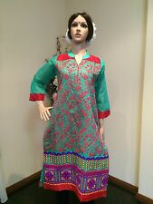 "36"" Small Kurta Kurti Top Tunic Kaftan Bollywood Indian Kurthy Green Red N1"