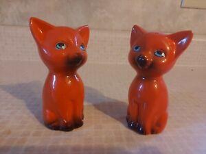 Rare Vintage Cat Collector's Set Orange Ceramic Cat Salt/Pepper Shakers