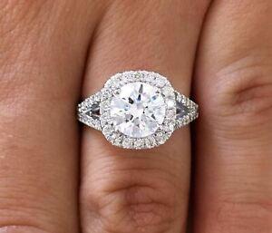 3.00 ct VS2/D Round Cut Diamond Cushion Halo Engagement Ring 14K White Gold