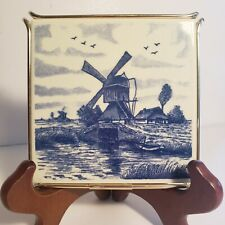 Delft Blue Holland Trivet Plate with Gold-Tone stand