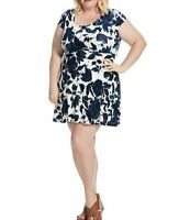 Gilli Stretch Jersey Short Sleeve Fit And Flare Dress In Blue Floral Size 3X