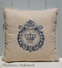 Nostalgie Dekokissen Krone Crown incl Füllkissen Natur Baumwolle Vintage 45x45