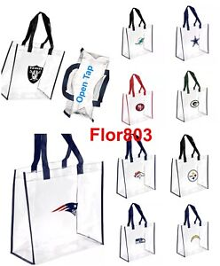 NFL Team Clear Reusable Plastic Tote Bag 2021 Stadium Aproved