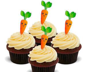 Carrot Cake! Edible Cupcake Toppers, 24 Fairy Bun Decorations Bake Off Cake Sale