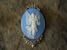 - Religious - Unique - Flying Guardian Angel Cameo Brooch- Pin