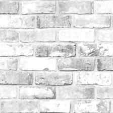 White Shimmer Brick Pattern Realistic Faux Effect Mural Debona Wallpaper 6751