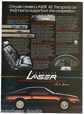 1984 CHRYSLER LASER advertisement, Chrysler Laser XE, turbo