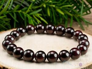 STAR GARNET Crystal Bracelet - Round Beads - Beaded Birthstone Jewelry, E1053