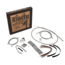14″ Ape Hanger Cable Kit Burly Stainless Clutch Brake Line HD Harley FL B30-1103