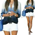 Zanzea Women Long Sleeve V Neck Gradient Plus Casual Buttons Shirt Blouse Tops