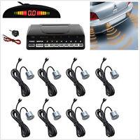 Silver Autos Reverse Parking Radar System LED Display 8 Sensor Sound Alert Alarm