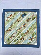 "Rare Vintage HERMES Paris ""Sportsmen"" Blue Women's Silk Scarf 90 X 90 CM"