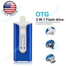 256G OTG Memory Photo Stick 3 In 1 USB Flash Pen Drive For iPhone Laptop iPad US