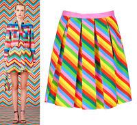 Rainbow Neon Colourful Stripe Pleated Mini Short Skirt Runway Celeb Amal Clooney