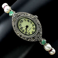 Sterling Silver 925 Oval Faceted Emerald & Ruby, Pearl & Marcasite Watch 7.5 In