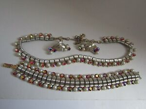 Rhinestone Set Jewelry Sets Antique jewelries Retro Jewelry Vintage Jewelry Set Rhinestone Jewelry Demi Parure Vintage 50s Jewelry