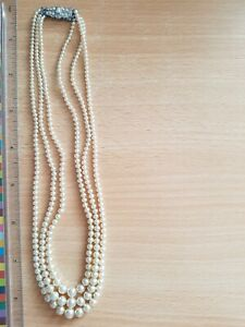 Vintage 3 String Pearl Necklace Costume Jewellery With Clasp
