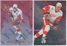 (2) PINNACLE CERTIFIED RED #56 + BE A PLAYER #45: SERGEI FEDOROV - RED WINGS LOT