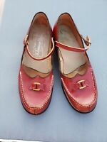 1940s/50s Vintage Red  Leather strappy mary jane  Flat jiving Shoes 7.5m  vlv