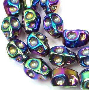 10mm Tiny Glass Metallic Coated Skull Beads Halloween (15 pc) - Peacock rainbow