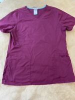 SB Scrubs Sz Small Lightweight Scrub Top Solid Magenta Color Pockets