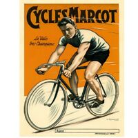 "Cycles Marcot Poster Vintage Bike Fine Art Bicycle Cycling Poster  18"" x 24"""