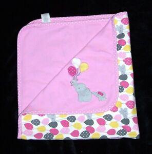 Gymboree HAPPY ELEPHANT Pink Balloons Baby Blanket Yellow Gray 2013 Security