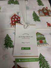 Nwt 4pc Pottery Barn Ski Lodge Organic Percale King Sheet Set Christmas