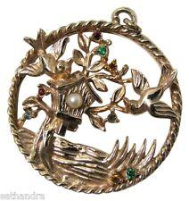 Vtg Birdhouse Necklace Pendant Gold Tone Jay Birds Rhinestones Faux Pearl Spring