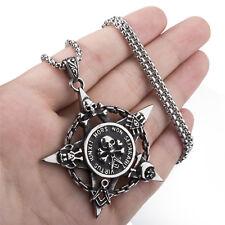 Mens Stainless Steel Pentagram Pendant Skull Pentacle Moon Star Masonic Necklace