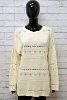Cardigan Donna BENETTON Taglia XL Felpa Maglione Pullover Sweater Vintage Bianco