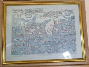 """Vintage Map Of Honk Kong & Xin And Country (Wood-Cut Print 1819)signed 17x22.5"""""""