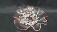 Glass 8 Inch Party Dish Floral Pattern with Pink Highlights & Rolling Edge