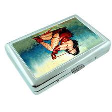 Metal Silver Cigarette Case Holder Box Pin Up Girl D 3 Vintage Lingerie Model