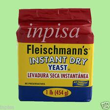 FLEISCHMANN'S YEAST 4 PACKS x 1 lb RED INSTANT DRY YEAST, LEVADURA SECA