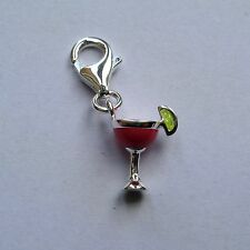Sterling Silver Enamelled Clip on Cocktail glass charm