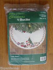 Vintage Bucilla Christmas Felt Stitchery Tree Skirt Kit # 32520 Teddy Bears New