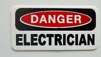 3 - Danger Electrician Lunch Box Hard Hat Oil Field Tool Box Helmet Sticker