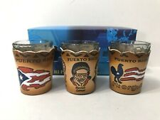 New in box PUERTO RICO BORICUA set of 3 SHOT GLASSES W/ REMOVABLE LEATHER COVERS
