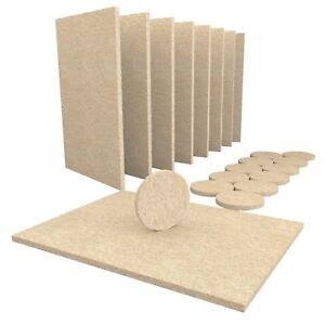 20 Piece Beige Furniture Felt Pads - 8 Large 15x11cm Sheets, 12 Round 38mm Pads