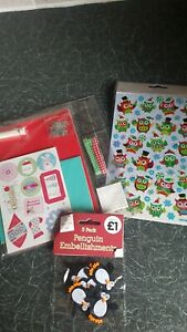 Christmas Card Kit With Owl And Penguin Embellishments. Card Making.