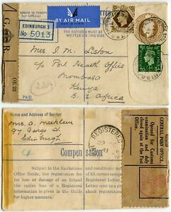 GB WW2 REGISTERED STATIONERY SCOTLAND to KENYA AIRMAIL OPENED CUSTOMS TAPE 1941