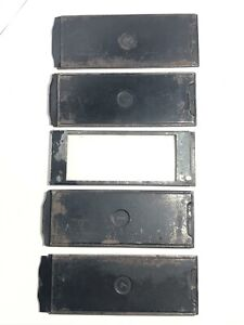 Antique Metal Film Plate Holder Sheaths x 4 + Glass Plate, Marked 725/1, 14x5cm
