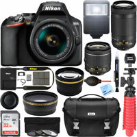 Nikon D3500 DSLR Camera + 18-55mm VR + 70-300mm 2 Lens Kit 32GB Accessory Bundle