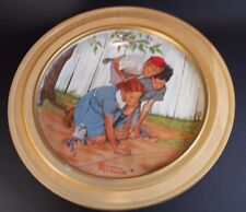 """Gorham China Norman Rockwell """"The Challenger"""" Collectible Plate Wood Framed"""